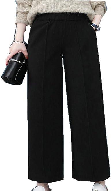Czytn Pantalones De Mujer Para Otono E Invierno De Tubo Recto De Lana De Pierna Ancha Pantalones De Mujer De Cintura Alta Informales De Nueve Puntos Amazon Es Ropa Y Accesorios