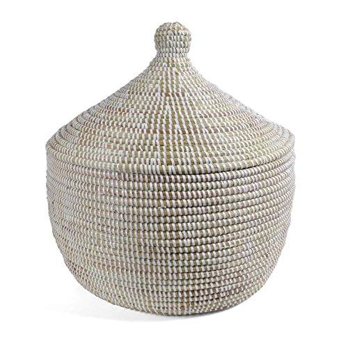 Fair Trade Baskets - African Fair Trade Handwoven Lidded Warming Basket, White