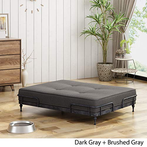 Christopher Knight Home Elvis Industrial Pet Bed, Dark Brushed Gray