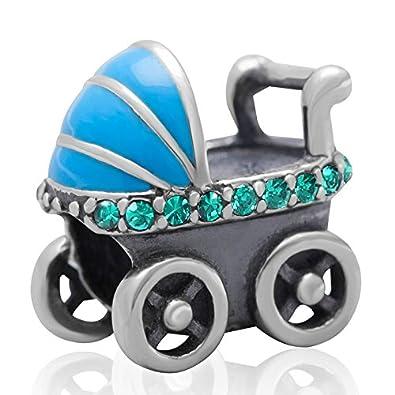 Cristal austriaco hoobeads cochecito de bebé con Encanto Genuino 925 plata de ley charms Bead Fit Pandora charms pulsera: Amazon.es: Juguetes y juegos