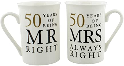 Ivory 50th Anniversary Mr Right U0026amp; Mrs Always Right Mug Gift Set By  Haysom Interiors