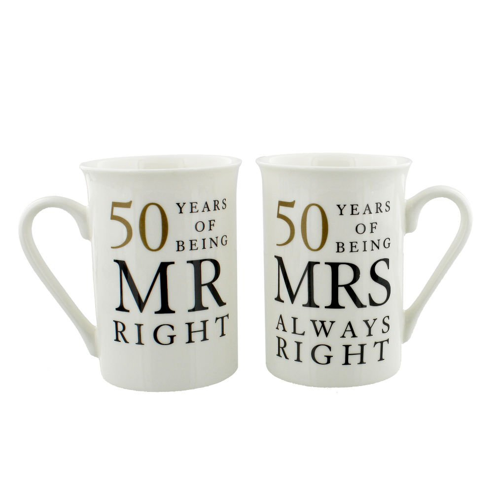 Ivory 50th Anniversary Mr Right & Mrs Always Right Mug Gift Set by Haysom Interiors
