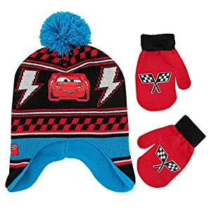 Disney Boys' Toddler Cars Lightning McQueen Hat and Mittens Cold Weather Set, black/blue/red, Age 2-4
