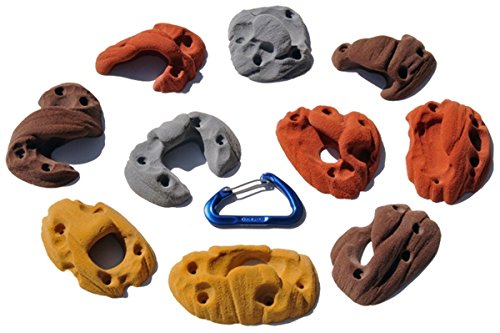 10 Pack Joe's Pocket Screw-Ons l Climbing Holds l Mixed Earth Tones by Atomik Climbing Holds