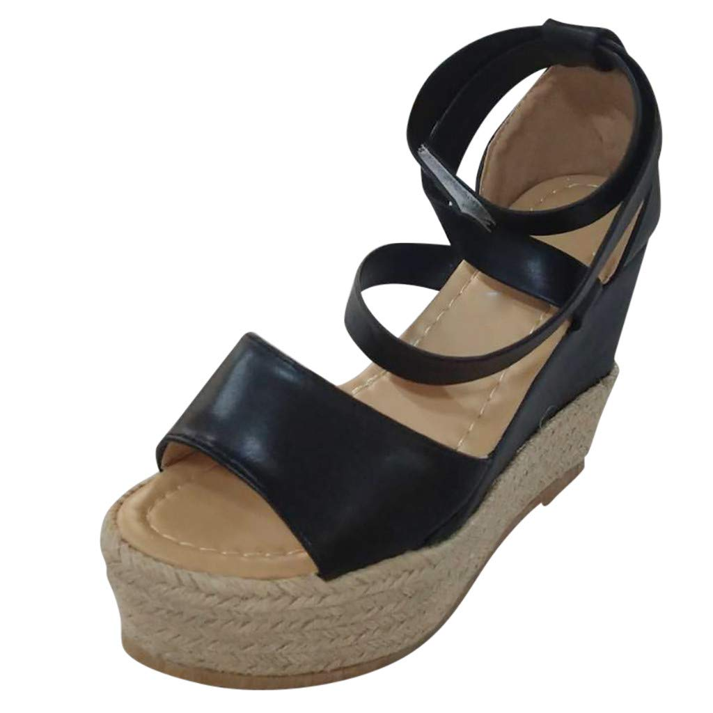 Platform Wedge Sandals for Women,Casual Espadrille Peep Toe Ankle Strap Criss Cross Thick Roman Shoes (US:8, Black)