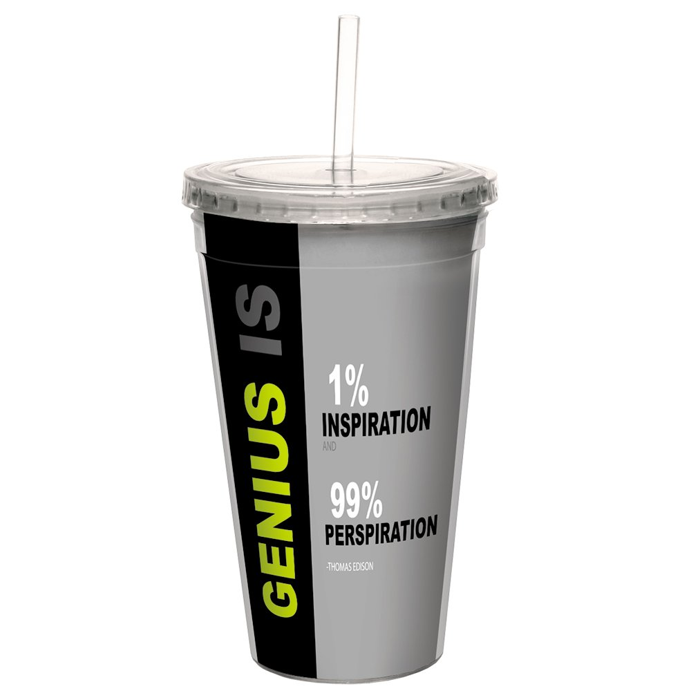 Tree-Free Greetings CC99094 Genius is Double-Walled Acrylic Cool Cup with Reusable Straw 16 Ounce