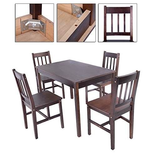 5Pcs Table Chairs Dining Set Solid Pine Wood Enhance Your Dining With Clean And Simple Lines TSE130A2