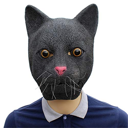 Novelty Halloween Costume Mask Cosplay Party Props Latex Animal Head Mask Adult &Kids Black Cat