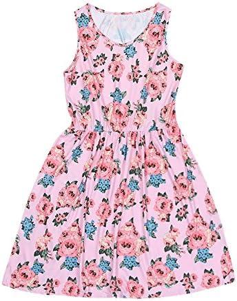 Adagod Print Pink Rose Sundress Vest Sleeveless Slim Mommy &Me Women Family Dress