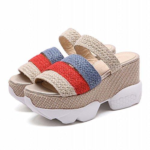 Carolbar Womens Assorted Colors Casual Comfort Platform Wiggen Sandalen Pantoffels Abrikoos