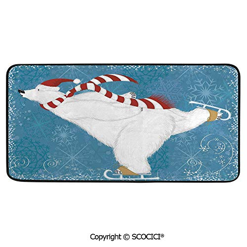 Rectangle Rugs for Bedside Fall Safety, Picnic, Art Project, Play Time, Crafts, Large Protective Mat, Thick Carpet,Bear,Polar Bear with Christmas Hat and Scarf Ice Skating Ornate,39