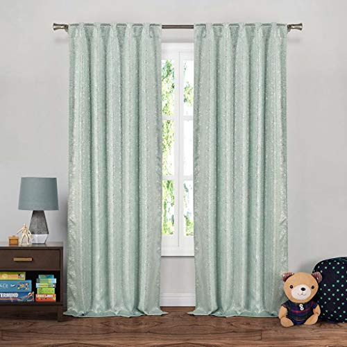 - Duck River Textiles - Maddie Silver Metallic Textured Blackout Room Darkening Pole Top Window Curtains Pair Panel Drapes for Bedroom, Living Room - Set of 2 Panels - 37 X 84 Inch - Seafoam Blue