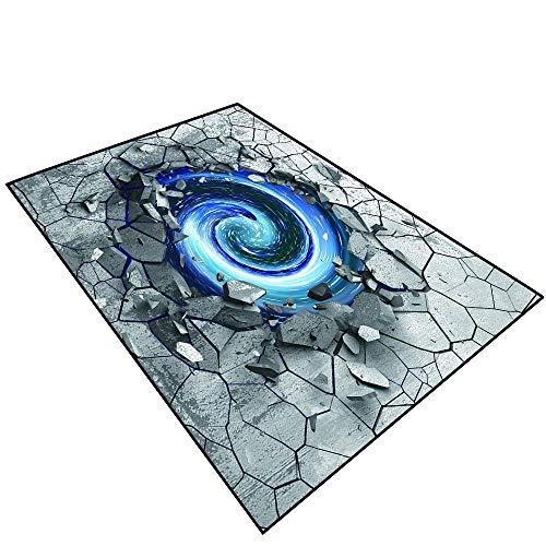 (3D Area Rug Non-Slip Doormat Carpet 3D Effect of The Trap Vortex.Dark Cracked Broken Hole in Concrete Wall.017 (3) Outdoor Bathroom Mats)