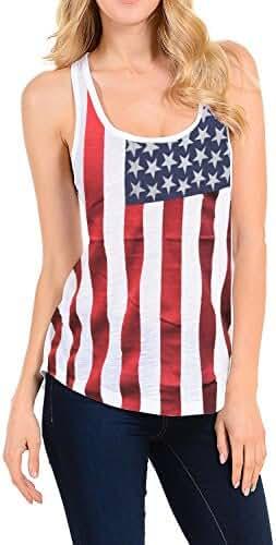 Lymanchi Women Casual Vest 4th of July American Flag Print Racerback Tank Tops