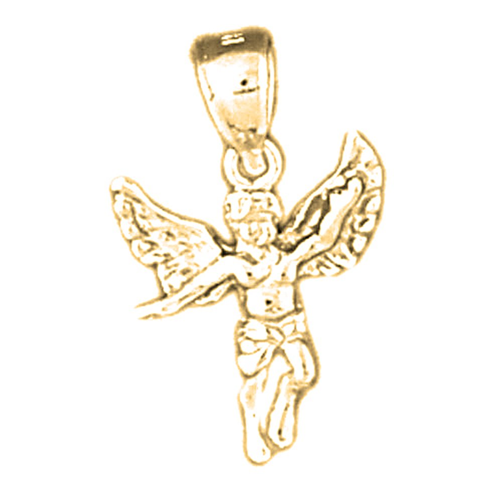 14K Yellow Gold-plated 925 Silver Angel Pendant with 30 Necklace Jewels Obsession Angel Necklace