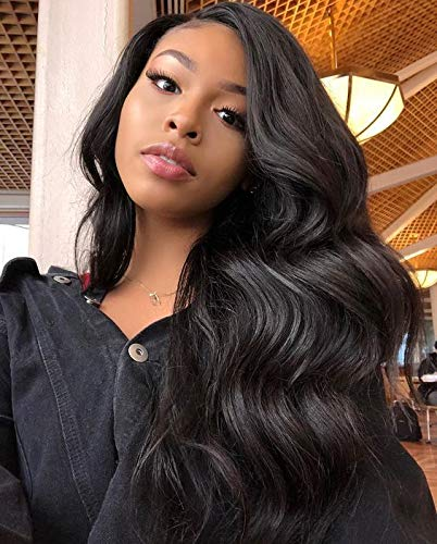 JINGFA Lace Front Wigs For Women Body Wave Heat Resistant Mixed Human Hair Wig Free Part Natural Black Color (Human Hair Wigs For Black Women On Sale)
