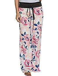 Women's Comfy Stretch Floral Print Drawstring Long Wide...