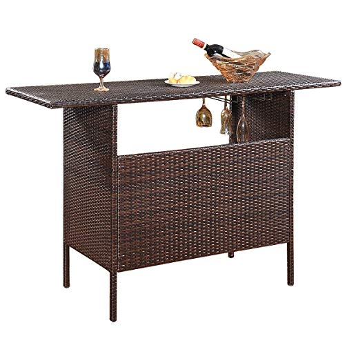 Giantex Outdoor Patio Rattan Wicker Bar Counter Table with 2 Steel Shelves, 2 Sets of Rails Garden Patio Furniture, 55.1 X18.5 X36.2 LXWXH , Brown