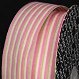 The Ribbon People Rose, Pink and Green Striped Woven Grosgrain Craft Ribbon 1.5'' x 55 Yards