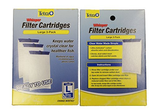 Tetra Whisper Large Aquarium Filter Cartridge, 3-Packs (2 boxes of 3-Packs) (Cartridge 3pk Large Box)