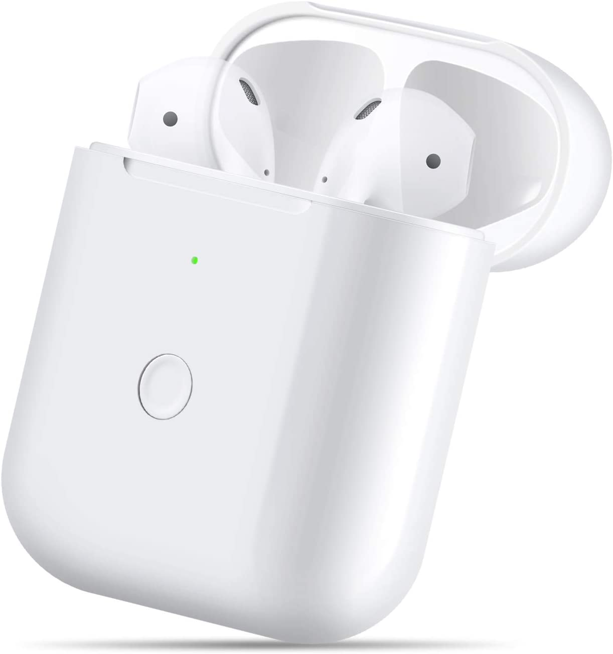 Wireless Charging Case Compatible with AirPods 1 2,Air pods Charger Case Replacement with Bluetooth Pairing Sync Button,no Aipods,White