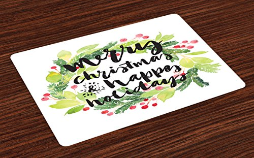 Ambesonne Christmas Place Mats Set of 4, New Year and Happy Holiday Rustic Design Wreath with Berries and Evergreen Image, Washable Fabric Placemats for Dining Table, Standard Size, White Teal
