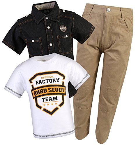 Ribbed Denim (Quad Seven Little Boy\\\\\\\'s 3-Piece Short Sleeve Woven Shirt, Tee, and Denim Pant Set, Ribbed White/Khaki, Size 7\\\'\'')