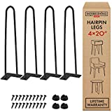 20 Inch Heavy Duty Metal Coffee Table Legs with Screws and Hairpin Leg Protector Included - 4 Piece Set - Pre-Drilled Holes for Easy Installation - Add Mid Century Modern Flair to Your Home (20