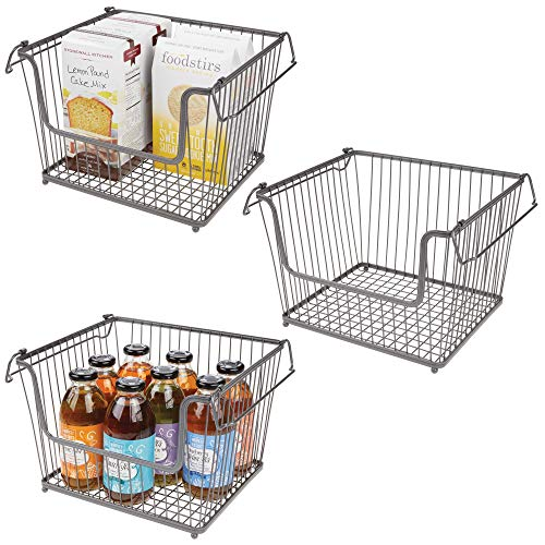mDesign Modern Stackable Metal Storage Organizer Bin Basket with Handles, Open Front for Kitchen Cabinets, Pantry, Closets, Bedrooms, Bathrooms, Large, 3 Pack - Graphite/Gray