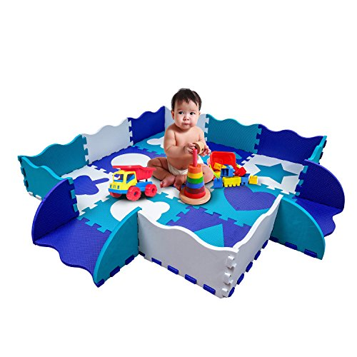 Wee Giggles Play Mats for Infants | Non Toxic Foam Play Mat with Fence | Infant Floor Mat for Tummy Time | 48