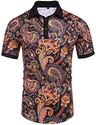 Daupanzees Mens Paisley Button Down Shirt Fashion Luxury Casual Traditional Tailored Slim Fit Stylish Casual Polo T Shirt(Black ()