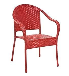 Stackable Outdoor Wicker Chair, in Red