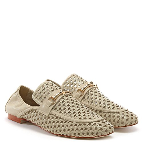 Daniel Ballena Beige Leather Woven Loafers Beige Leather t4YggRowQf