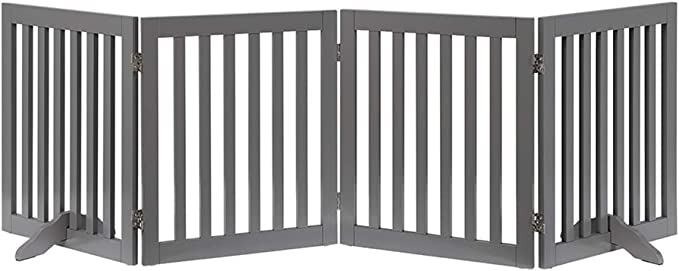 unipaws Freestanding Extra Wide and Tall Large Pet Gate, Folding Wooden Dog Gate, Indoor Barrier with 2PCS Support Feet (51cm WX61cm H, 4Panels): Amazon.com.au: Pet Supplies