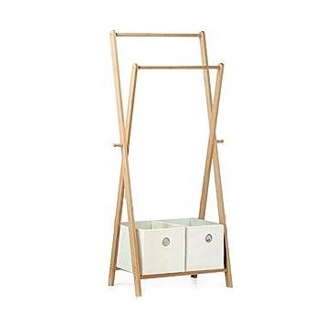 FU_BIN Ropero de Ropa de bambú Soporte de Capa de ...