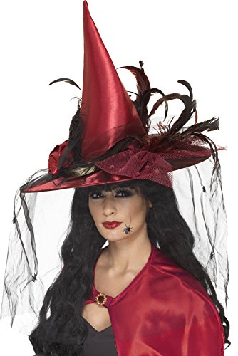 Smiffy's Women's Witch Hat, Net & Feathers, Red, One Size, (Red Witch Hat)