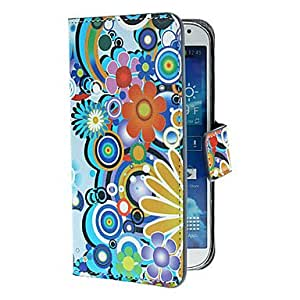 YULIN Exquisite Flowers and Circles Pattern PU Leather Case with Stand and Card Slot for Samsung Galaxy S4 I9500