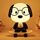 LED Night Light Bedside Lamp for Breastfeeding, Cute Skateboarding Dog Cartoon Animal Desk Lamp Baby Kids Children Bedroom Sleeping Light for Boys Girls