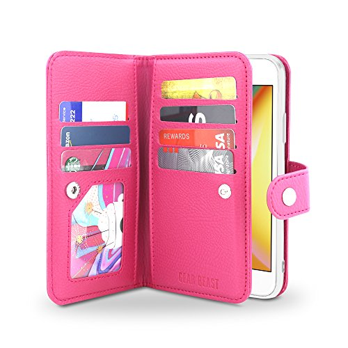 Gear Beast Flip Cover Dual Folio Case fits iPhone 8 Plus / 7 Plus Wallet Case Slim Protective PU Leather Case 7 Slot Card Holder Including ID Holder 2 Inner - Case Pink Flip Folio