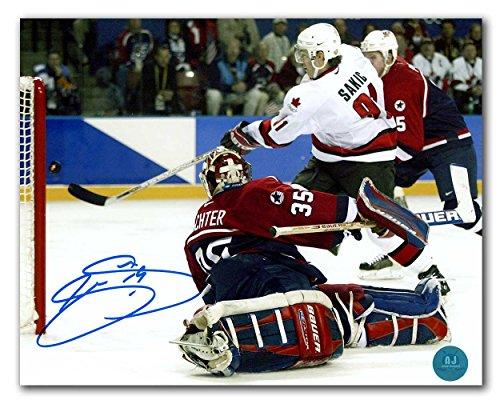 AJ Sports World Joe Sakic Team Canada Autographed 2002 Olympic Hockey Gold Medal Goal 8x10 Photo