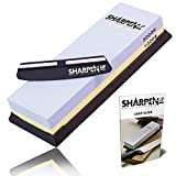 Sharpen Up - Knife Sharpening Stone kit With Black silica non-slip Base - Free Sharpening Stabilizer Knife Angle Guide - Premium Two Sided #1000 & #3000 Corundum Global Whetstone - Best sharpener