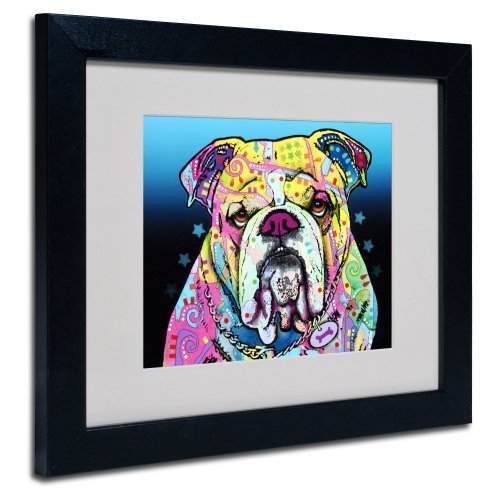The Bulldog Matted Artwork by Dean Russo with Black Frame, 11 by 14-Inch (Bulldog Art Wall)