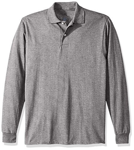 Jerzees Men's Spot Shield Long Sleeve Polo Sport Shirt, Oxford, X-Large