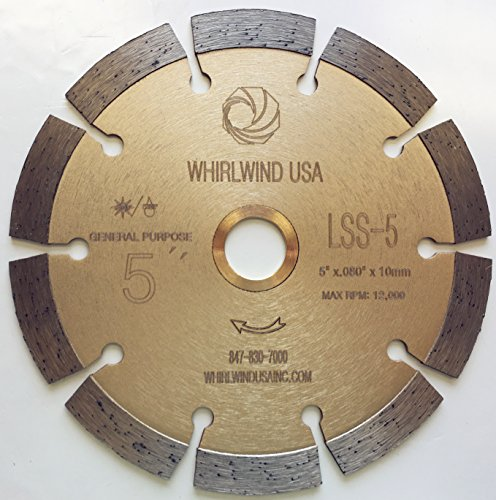 "Whirlwind USA LSS 5-Inch Dry or Wet Cutting General Purpose Power Saw Segmented Diamond Blades for Concrete Stone Brick Masonry (Factory Direct Sale) (5"")"