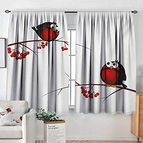 Mozenou Rowan Room Darkening Curtains Cute Kids Themed Cartoon Style Birds on Branches Funny Happy Christmas Design Drapes for Living Room 55