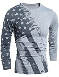 Generic Mens Chic Star Printed Crew Neck Slit Tee Tshirt Blouse