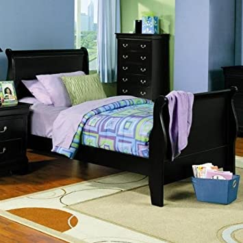 twin size sleigh bed louis philippe style in black finish