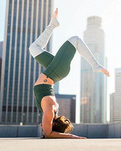 aa3616cbff Namastetics Women's Fusion Yoga Pants with Attached Leg Warmer Leggings  (Large, Green)