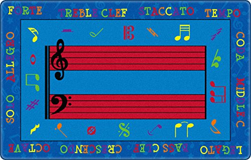 Flagship Carpets FE121-32A Fun with Music Rug, Creatively Reinforce Music Vocabulary and Symbols, Children's Classroom Educational Carpet, 5'10