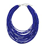 Bocar Multi Layer Chunky Bib Statement Seed Beads Cluster Collar Necklace for Women Gift (NK-10351-royalblue)